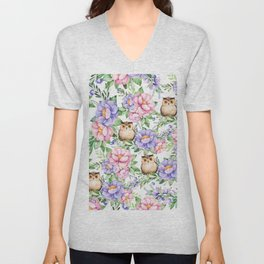 Watercolor hand painted pink lavender brown floral cute owl pattern Unisex V-Neck