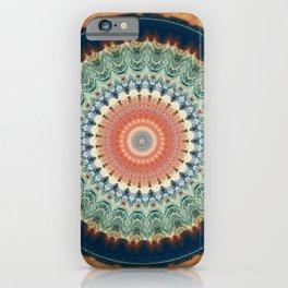 Dark Indigo Blue Orange Mandala iPhone Case