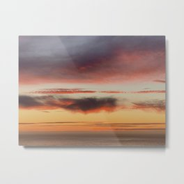 Layered Gray Skyscape over Pacific Ocean Metal Print