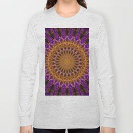 Pretty violet and golden mandala Long Sleeve T-shirt