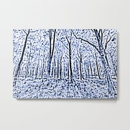 The Blue Forest Abstract Art Metal Print