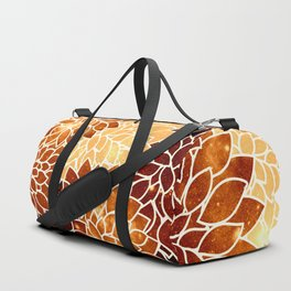 Space Dahlias Golden Bronze Duffle Bag
