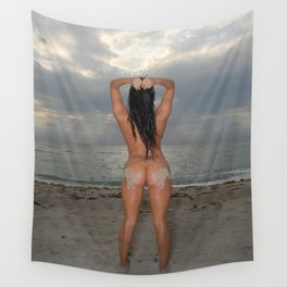 9524-SS Naked Woman Nude Beach Sand Surf Sandy Handprint Big Breasts Long Black Hair Sexy Erotic Art Wall Tapestry