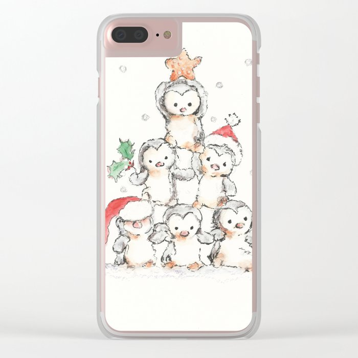 Oh Penguin Tree Clear iPhone Case