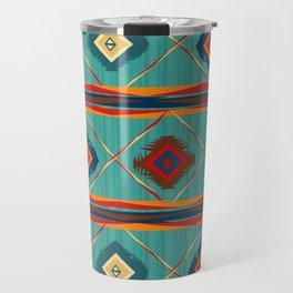 Southwestern Motif in Blue Travel Mug
