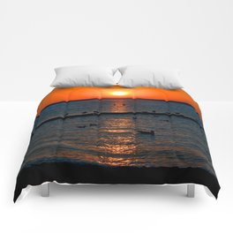 Summer Sunset on the Baltic Sea Comforters