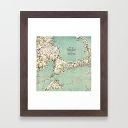 Cap Cod and Vicinity Map Framed Art Print