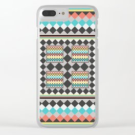 Tribal Patch Work Quilt Clear iPhone Case