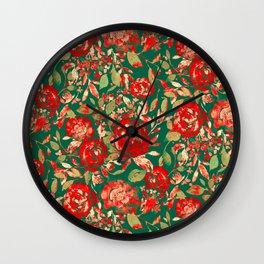 Farmhouse Floral Christmas Wall Clock