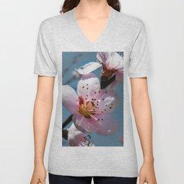 Peach Blossom Blue Sky Unisex V-Neck