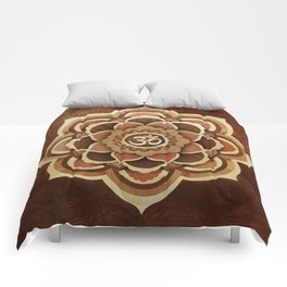 Patience and lucky of harmony mandala wood marquetry Comforters