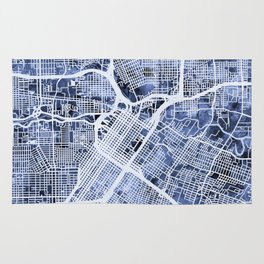 Houston Texas City Street Map Rug