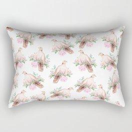 Hand painted modern pink brown watercolor peonies dove pattern Rectangular Pillow
