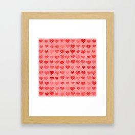 Pink Valentines Love Hearts Framed Art Print