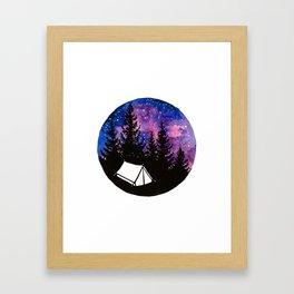 Tiny tent unter nebula Framed Art Print