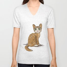 Brown Cat Illustration Unisex V-Neck