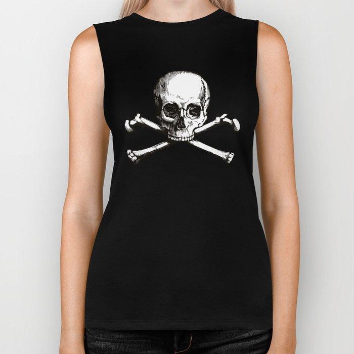 Skull and Crossbones | Jolly Roger | Pirate Flag | Black and White | Biker Tank