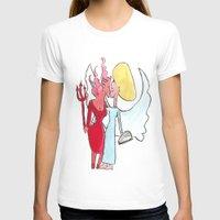 lesbian T-shirts featuring Angel/devil lesbian kiss by Nehalennia