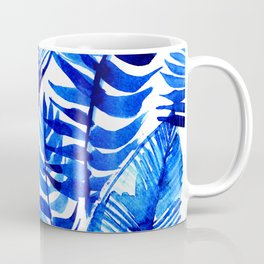 Jungle Leaves & Ferns in Blue Coffee Mug
