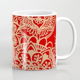 Red and Gold Mandala Pattern Coffee Mug