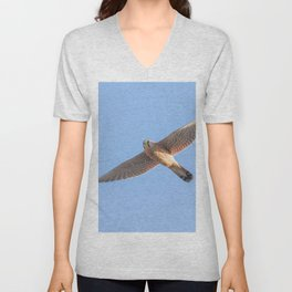 Common Kestrel (Falco tinnunculus). Common Kestrel in flight Unisex V-Neck