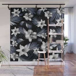 Tropical Flowers Palm Leaves Finesse #4 #tropical #decor #art #society6 Wall Mural