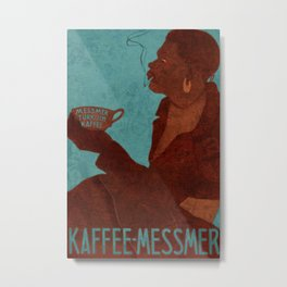 Vintage Red and Teal Turkish Coffee Woman with Cigarette Metal Print
