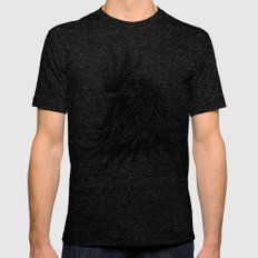 Ornately Decorated Rooster MEDIUM Tri-Black Mens Fitted Tee