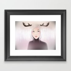 women_deer Framed Art Print
