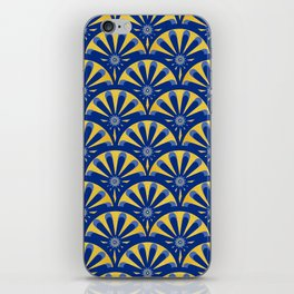 Art Deco Fan in blue and gold iPhone Skin