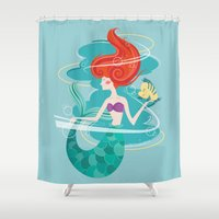 little mermaid Shower Curtains featuring Little Mermaid by LindseyCowley