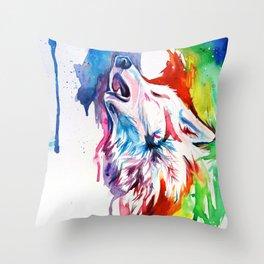 Rainbow Wolf Throw Pillow