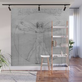 Leonardo da Vinci Vitruvian Man with Wings Study of Angels Wall Mural