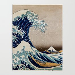 Under the Great Wave by Hokusai Poster