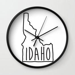 Idaho Type Map Wall Clock