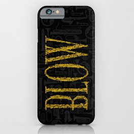 Blow BLACK & GOLD / Horn instruments forming type and background iPhone Case