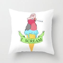 I scream Ice cream Galah Cockatoo Throw Pillow