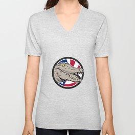American Alligator USA Flag Icon Unisex V-Neck
