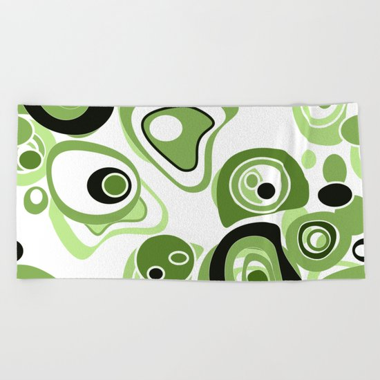 Abstract pattern . Black and green circles and rings on a white background . Beach Towel