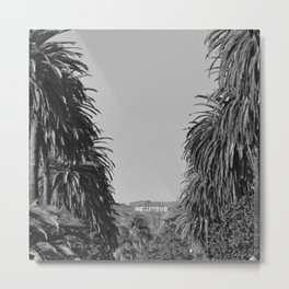 Hollywood Sign, Hancock Park Street view line by palm trees black and white photograph Metal Print