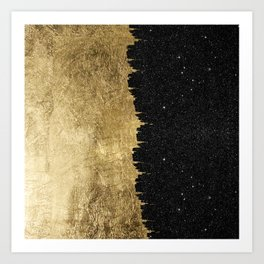 Faux Gold and Black Starry Night Brushstrokes Art Print