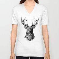bioworkz V-neck T-shirts featuring Ornate Buck by BIOWORKZ