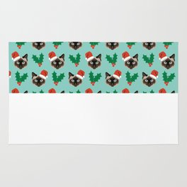 Siamese Cat cute christmas gift santa hat pattern mistletoe and holly wreath cats cute kitten gift  Rug