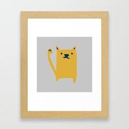 Cute Cat minimal Pattern Grey Framed Art Print