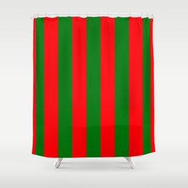 Wide Red and Green Christmas Cabana Stripes Shower Curtain