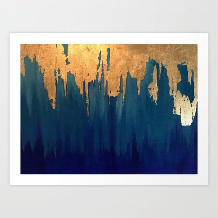 Gold Leaf Blue Abstract Art Print By Tsalaz1