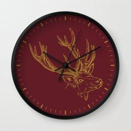 Deer Burgundy Gold Wall Clock