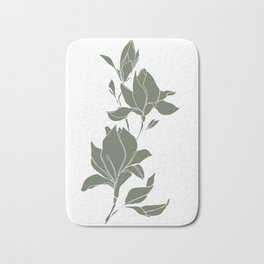 Botanical illustration line drawing - Magnolia Green Bath Mat