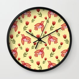 Pretty cute little wild canary birds, red blooming garden tulips, nature flowers bright sunny yellow pattern. Hello spring. Gifts for tulip lovers. Botanical floral artistic design. Wall Clock