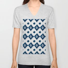 Abstract navy blue watercolor geometrical pattern Unisex V-Neck